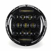 2 pezzi 7 pollici 75 W rotondi 13 LED fari Hi-Lo lampadina del fascio per Harley / Jeep Wrangler JK TJ nero
