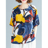 Abstract Print Round Neck Loose Casual Half Sleeve Vintage Blouses For Women