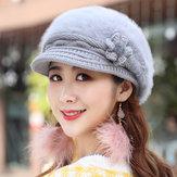 Womens Leisure Winter Knit Hat Plus Velvet Beret Hat