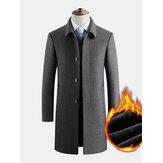 Trench in panno di lana da lavoro monopetto caldo spesso tinta unita da uomo