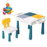 Детские строительные блоки, стол, стулья, детский развивающий мозг, рабочий стол, письменный игровой стол для детей, малышей