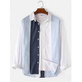 Camisas de manga larga con cuello vuelto 100% algodón para hombre