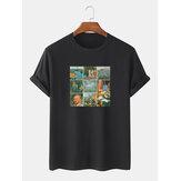 T-shirt a manica corta da uomo in cotone 100% cotone con stampa capolavoro mondiale Collo
