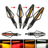12V 24 LED Motorcycle Flowing Amber Turn Signal Indicator White/Red DRL Brake Lights