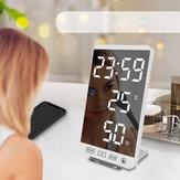 6 Pollici LED Specchio Sveglia Pulsante a sfioramento Orologio digitale da parete Ora Temperatura Umidità Display Porta di uscita USB Orologio da tavolo