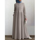 Damska jednokolorowa sukienka z guzikami z przodu wokół szyi w stylu vintage tunika kaftanowa Maxi z kieszenią