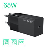 BlitzWolf® BW-S17 Caricabatteria USB-C da 65 W PD3.0 Caricatore da muro Power Delivery con adattatore per presa UE per laptop tablet smart phone per iPhone 12 12 Mini SE 2020 per iPad Pro 2020 MacBook Air 2020 Huawei