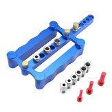 Azul 6/8 / 10mm Conjunto de gabaritos de cavilha com autocentragem Liga de alumínio Guia de gabaritos com cavilha Broca Guia de linha de centro Rabisco Conjunto de carpintaria