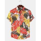 Męskie tropikalne rośliny drukowane Turn Down Collar Hawaje wakacyjne koszulki z krótkim rękawem
