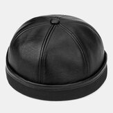 Banggood Design Men Solid اللون PU Leather Beanie Brimless Landlord Cap Skull Cap