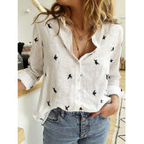 Daily Casual Women Bird Print Cotton Linen Long Sleeve Shirt Commute Blouse