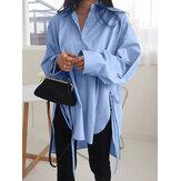 Women Lape High Low Split Tie Hem Irregular Hem Long Sleeve Shirts