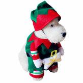 Haustier-HundundKatzeWeihnachtsklage-Weihnachtsmann,deroben Partei-Kleiderkleidung mit Hut kleidet