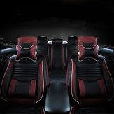 Preto PU Couro Completo Almofada de cobertura do assento do carro Conjunto de frente e traseira ajustável para carro de 5 assentos
