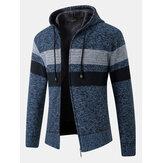 Erkek Şerit Colorblock Fermuar Kalın Sıcak Örgü Triko Kapşonlu Ceket