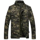 Mens Camo Printing Military Cotton Outdoor Epaulet Jacket