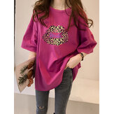 Leopard Lips Print Oversize Loose Daily Casual T-Shirt