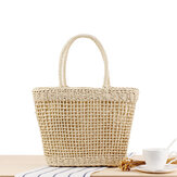 Women Portable Hollow Woven Handbag