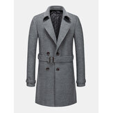 Mens British Style Mid-Length Woolen Thicken Warm Casual Belted Overcoat