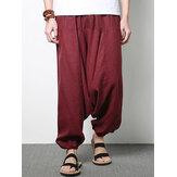 Männer Baumwolle Leinen Pluderhosen beiläufige Baggy lockere Hosen moderne Breite Beine Hosen