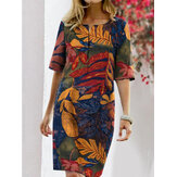 Women Vintage Floral Print Cotton Linen Half Sleeve Casual Midi Dress