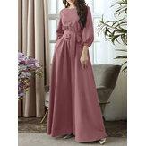 Solid Color Belted O-neck Lace Up Side Pocket 3/4 Sleeve Vintage Maxi Dress