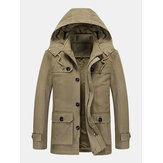 Mens Winter Thicken Fleece Lined Mid-Length Warm Parka With Removable Hood