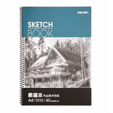 Deli 7698 A4 Art Sketch Pad Graffiti Paper for Drawing 40Pages Pure Wood Pulp Double Adhesive Painting Paper Stationery School Sketch Supplies