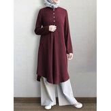 Mujer Color liso Mitad de la pantorrilla longitud Caftán de medio botón Túnica Manga larga Camisa