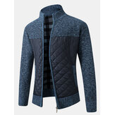 Mens Warm Patchwork Long Sleeve Zipper Knitting Thick Jacket With Pocket
