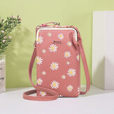 Women 13 Card Slots Phone Bag Daisy Crossbody Bag Shoulder Bag