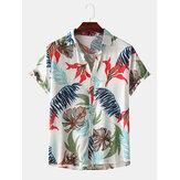 Männer Farbblock tropische Pflanzenblätter drucken Kragen umdrehen Hawaii Holiday Kurzarmhemden