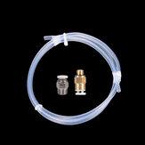 1M 2 * 4MM Transparent PTFE Tube + 1PCS PC4-01-Anschluss + 1PCS KJ04-M6-Anschluss DIY 3D-Drucker Teil Satz