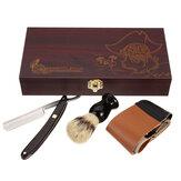 Set da barba per barbiere dritto Rasoio rasatura Pennello Strop in legno Scatola