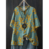 Cotton Loose Batwing Sleeve Floral Print Button Pocket Shirt