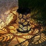 Vintage LED Solar Lantern Lights Garden Hanglamp Leaf Pattern Yard Decor