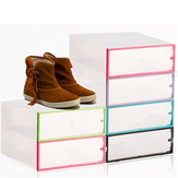 Foldable Clear Plastic Shoe Boxes Storage Organizer Stackable Tidy Baskets