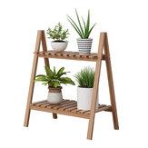 2つの層の木の植木鉢の植物の立場の表示靴の貯蔵の棚の棚の屋内屋外