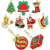 8/9PCS Christmas Keychain Pendant DIY Diamond Full Drill Painting Keychain Set Bag Or Phone Decor Christmas Gift