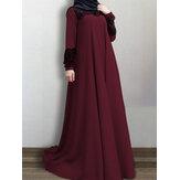 Feminino Lace Patchwork Big Swing Vintage O-Neck Casual Manga Longa Vestido Muçulmano