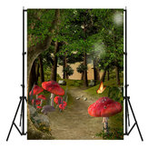 3x5FT Forest Mushroom Fairy Tale Photography Backdrop Background Studio Prop