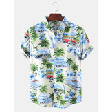 Mens Designer Cartoon Coco Car Landscape Print Short Sleeve Hawaii Casual Shirts