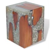 KCASA unikalny kwadratowy stolik kawowy z drewna tekowego ręcznie robiony akcentujący blat do salonu
