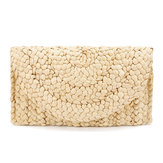 JOSEKO Mujer Summer Lovely Retro Cartera de punto de paja Key Money Playa Long Bolsa Clutch