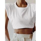 Frauen einfarbig runde Halsausschnitt Ärmel lässig Crop Tank Tops