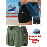 Men Sports Breathable Moisture Drawstring Bicycle Shorts Mesh Liner Zipper Pocket Mini Shorts