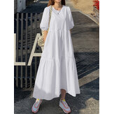 Women Cotton Solid Color Puff Sleeve Pleated Simple Maxi Dresses With Pocket