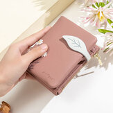 Women PU Leather Floral Printing Casual Mini Easy Carry Money Clip Card Holder Wallet