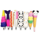 Squishy Pen Cap Ice Cream Cone Animal Slow Rising Jumbo Med Pen Stress Relief Legetøj Student Office Gift