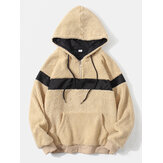 Mens Patchwork Plush Fleece Half Zipper Front Kangaroo Pocket Hoodies